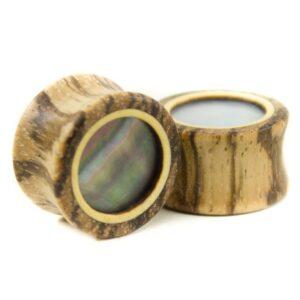 Holzplug Zebrano mit Perlmutt - van branch - Paaransicht