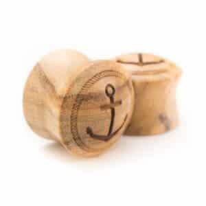 Holz Plug Anker Konvex Olivenholz - van branch - Paaransicht