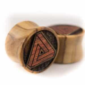Holz Plug Penrose Dreieck Olivenholz - van branch - Paaransicht