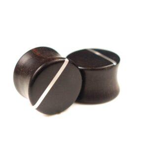 Handgefertigte 12 mm Ohr Plugs aus Ebenholz und Sterlingsilber mit Gravur