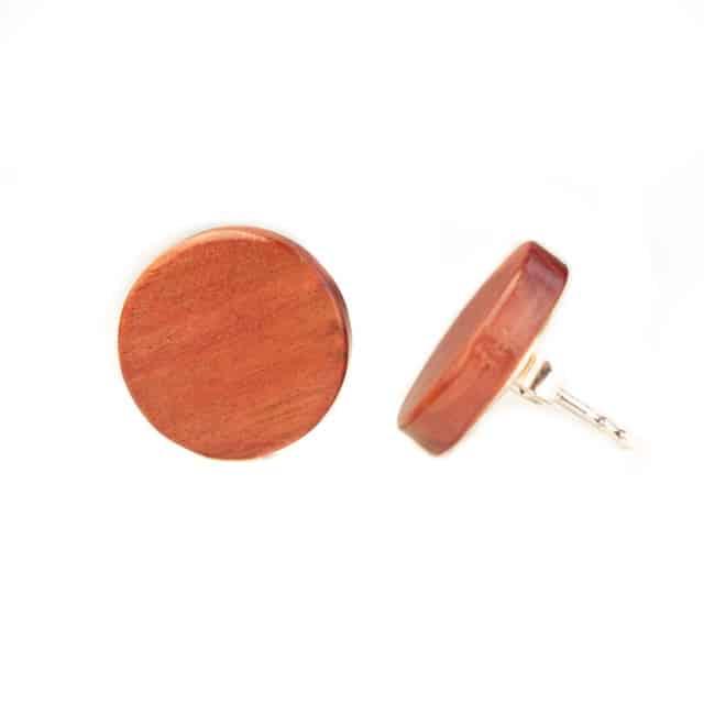 Handgefertigter Ohrstecker aus Pink Ivory in 14mm, liebevolle Handarbeit