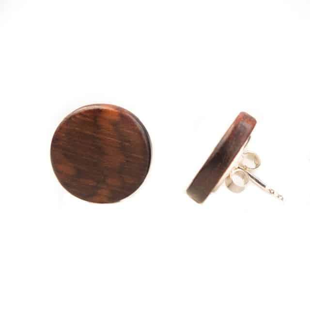 Handgefertigter Ohrstecker aus Schlangenholz in 14mm, liebevolle Handarbeit