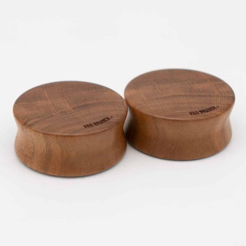 Handgefertigte 24mm Plugs für Ohren aus Pflaume mit van branch Schriftzug