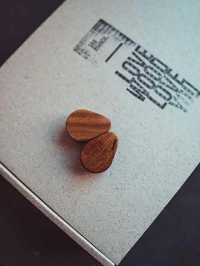 Handgefertigte 26mm Teardrop Plugs für Ohren aus Pflaumenholz mit van branch Schriftzug