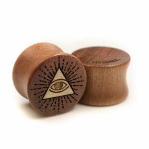Handgefertigte 16mm Wood Plugs aus Pink Ivory Holz mit Auge Motiv
