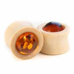 Handgefertigte 14mm Ohr Plugs aus Ahorn und Bernstein mit Gravur