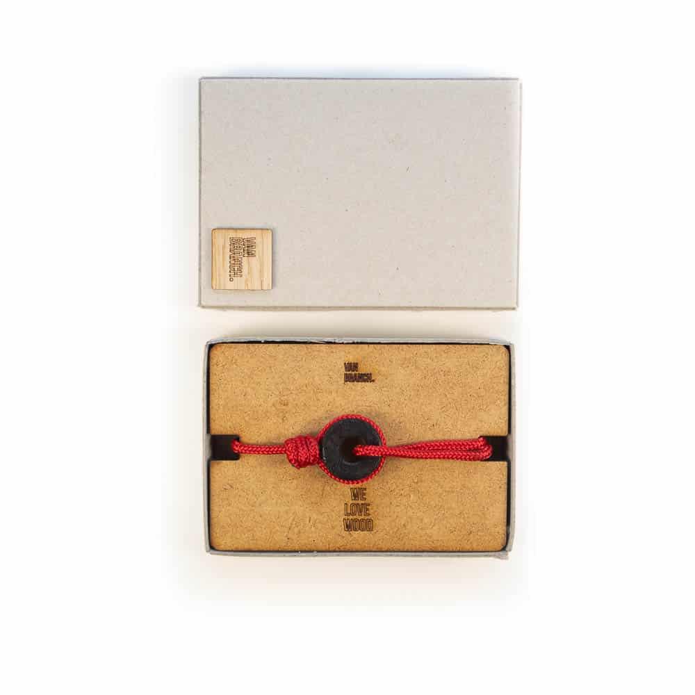 van branch Armband mit Holz und topografischem Muster