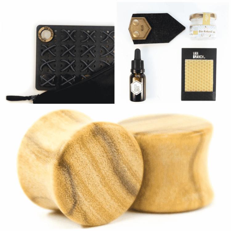 Dein Set für Einsteiger handgefertigte Olivenholz Plugs mit Tasche und Pflegeset mit hochwertigen Produkten.