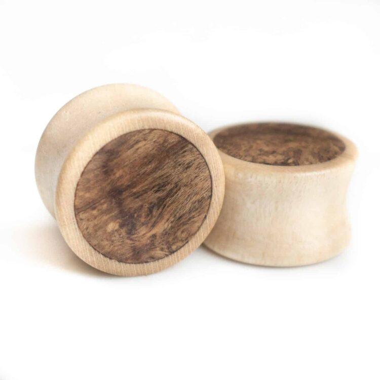 Handgefertigte 12mm Holz Plugs aus Ahorn mit Maserholz