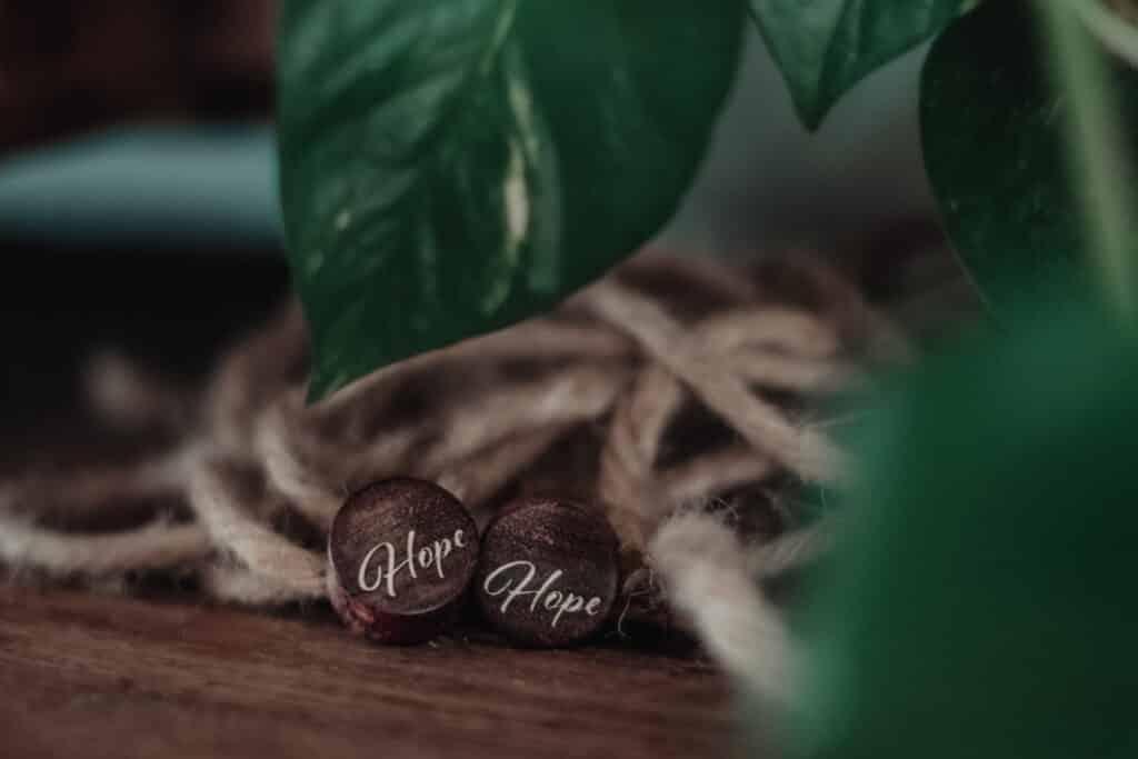 Handgefertigter Ohrplug mit Herz aus Chechen in 16mm, liebevolle Handarbeit mit Ilex Schriftzug Hope