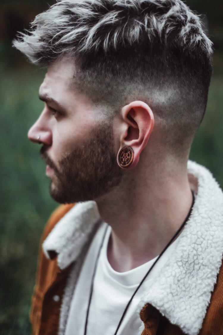Handgefertigte 20mm Ohrplugs für Ohren aus Pflaume mit Blumen Motiv