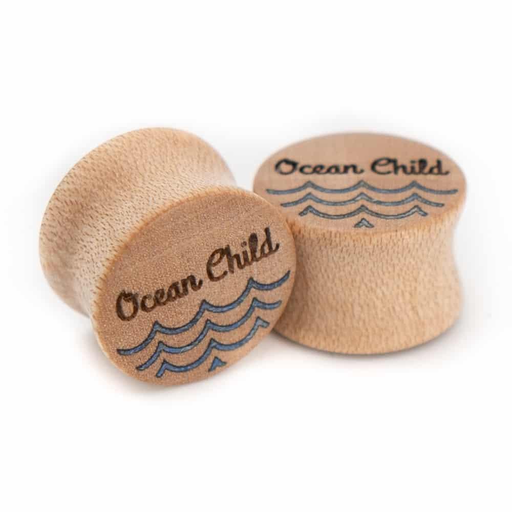 Ocean Child van branchindividuell Handgefertigte Holz Plugs 14mm aus Ahorn