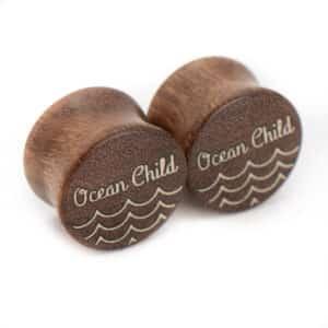 Ocean Child van branchindividuell Handgefertigte Holz Plugs 14mm aus Chechen und Ilex
