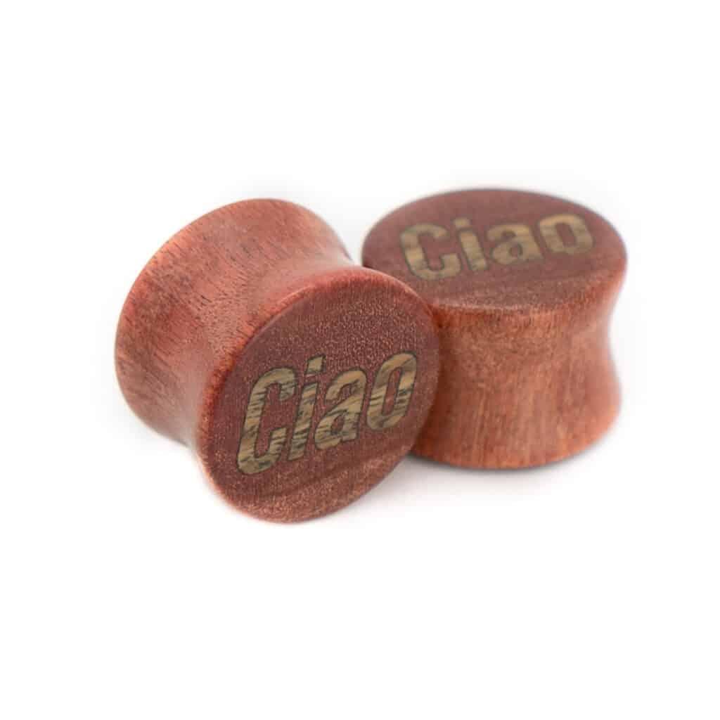 Ciao Motiv Plugs Pink Ivory Holz mit Intarsie aus Verawood von van branch, handgefertigt für Dich