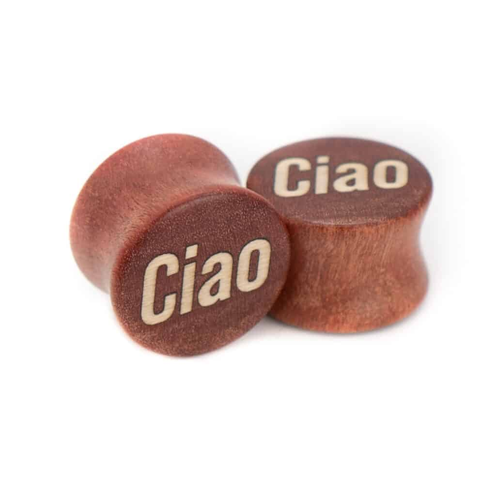 Ciao Motiv Plugs Pink Ivory Holz mit Intarsie aus Ilex von van branch, handgefertigt für Dich