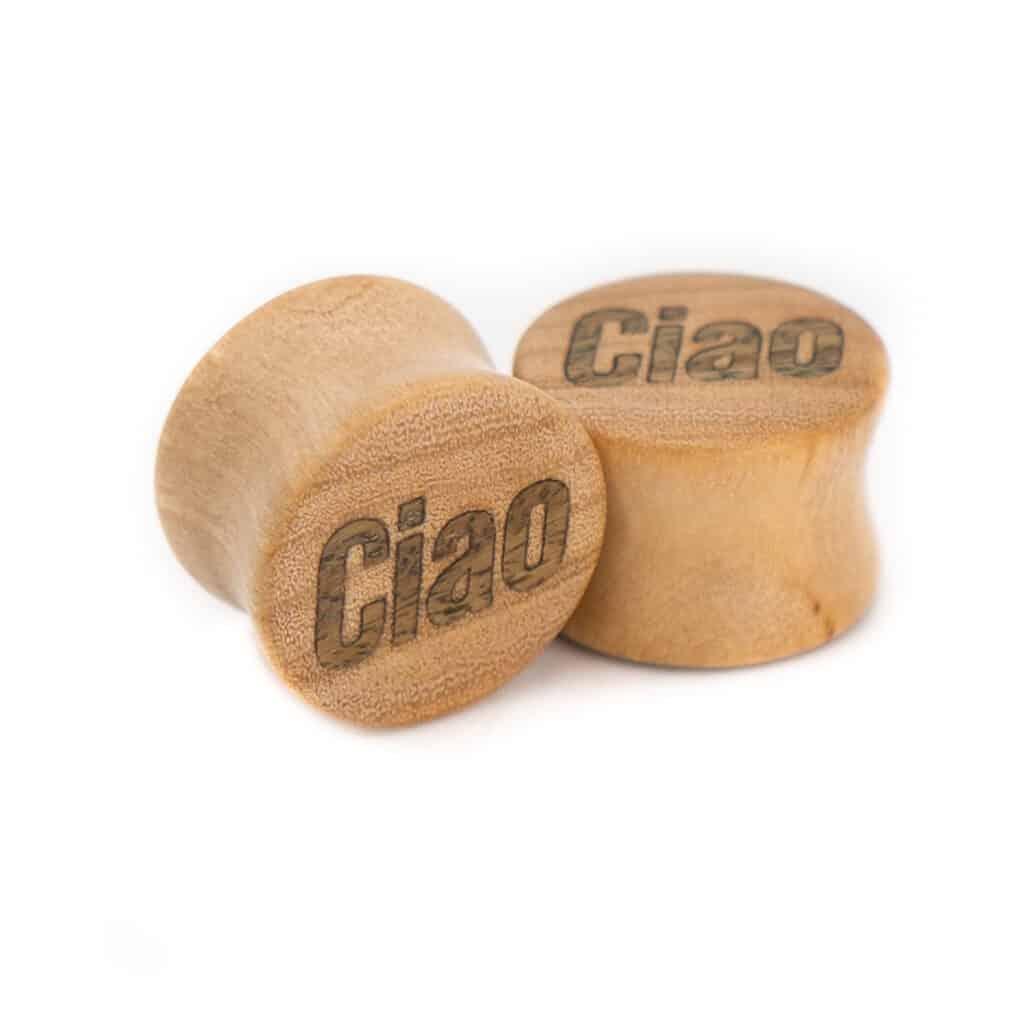 Ciao Motiv Plugs Olivenholz mit Intarsie aus Verawood von van branch, handgefertigt für Dich