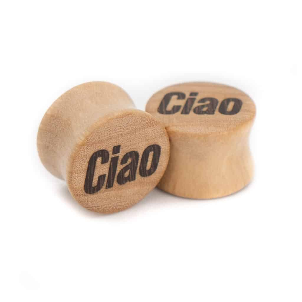 Ciao Motiv Plugs Olivenholz mit Intarsie aus Katalox von van branch, handgefertigt für Dich