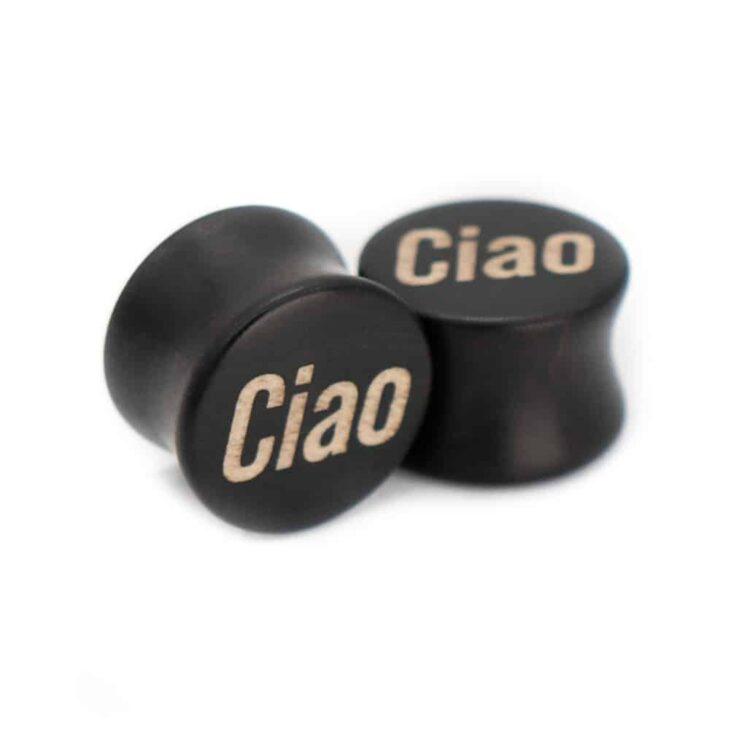Ciao Motiv Plugs Ebenholz mit Intarsie aus Ilex von van branch, handgefertigt für Dich